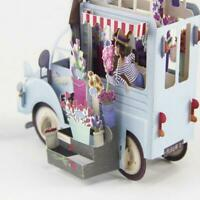 3D Flower Car Greeting Card Happy Birthday Anniversary Invitation Decor Gifts