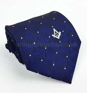 Masonic Tie with Square Compass with G in Black & Blue colour mason neck tie