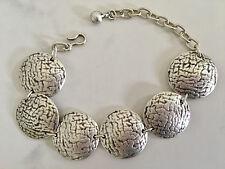 Silver Bracelet Large Coin Circle Disc Beads Turkish Ottoman Boho Gypsy Ethnic