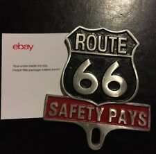 "Route 66 "" SAFETY PAYS "" Antique Style Car Auto License Plate FOB Harley Hotrod"