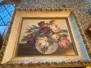 """Vintage Wooden Framed Rose Bouquet Needlepoint Picture- 17""""x19"""""""