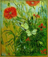 Van Gogh Butterflies & Poppies Repro, Quality Hand Painted Oil Painting 20x24in