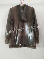 100%Latex Rubber Stylish Hoodie Smoke Gray Unique Coat Top Size XXS-XXL