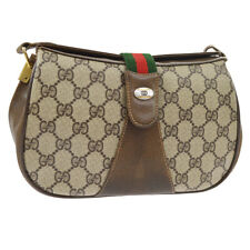GUCCI Shelly Line GG Cross Body Shoulder Bag Brown PVC Leather A44011g