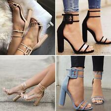 Woman Sexy Summer High Heels Thick Heel Transparent Open Toe Sandals Shoes TM