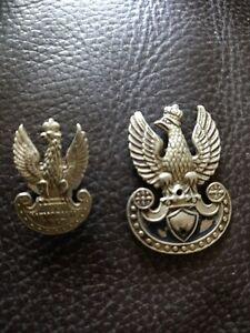 WW2 Original Polish Eagle Cap/ lapel Badges x 2 1940 + 1937