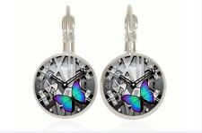 New Butterfly silver Glass cabochon 18mm handmade Earrings Jewelry GC-37