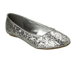 WOMENS SILVER GLITTER WEDDING PARTY FLAT BALLET DOLLY PUMPS SHOES LADIES UK SIZE
