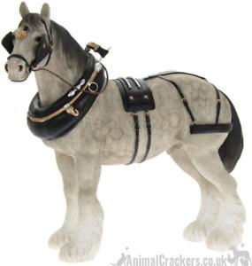 Large 22cm Grey Shire Cart Heavy Horse harness ornament figurine Leonardo, boxed