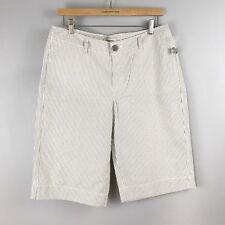 NWOT MERONA Striped Bermuda Shorts Cream Gray WMs SZ 10