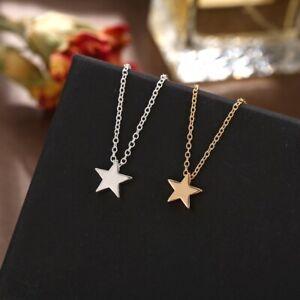 Damen Halskette Sternen Anhänger Chocker Silber Gold Collier Silberkette Mode