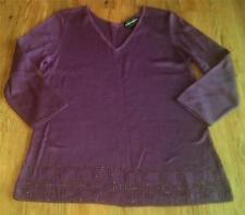 WOMENS LADIES REQUIREMENTS 100% ACRYLIC SWEATER~DEEP PURPLE~TINY BEADS~SIZE M~EC