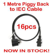 16x 1 Metre Piggyback to IEC Plug Power Cable Lead Cord Jug Black Piggy Back 1M