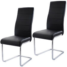 Set of 2 PU Leather Dining Chairs Elegant Design High Back Home Furniture Black
