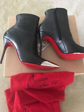 CHRISTIAN LOUBOUTIN Calamijane 100 Black Silver Metal Cap Toe Ankle Boot 38.5/9