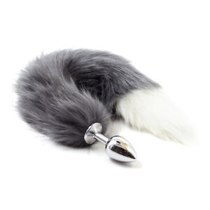 Funny Unisex Stainless Steel Metal Plug With Fox Faux Tail Valentine's Day Gift