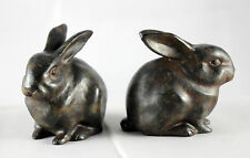 Hand patinated Bunny Rabbit statue pair, figurines