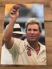 SHANE WARNE - Hand Signed 12x8 Photo - Australia Ashes Winning Bowling Cricket