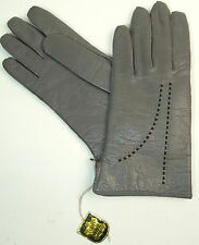 Gloves Leather Ladies Leather Vintage Pattern Grey Lined 7,5