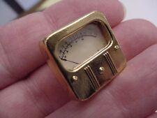 (M-328-A) mini gold Weston A Scale Voltage Unit VU METER jewelry BROOCH tac pin