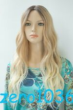 Ombre Brown to Blonde Vavy Hi-Quality Heat Friendly Small lace front long Wig