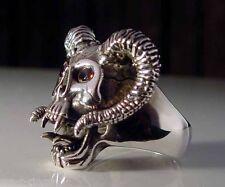 Sterling Silver .925 Red Eyed Devil Ram Skull Ring    RG05/CZ/S