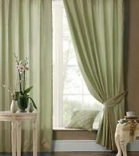 "46"" x 54"" GREEN FAUX SILK CURTAINS EYELET / RING TOP FULLY LINED INC TIEBACKS"