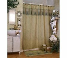 """Floral Meadow Shower Curtain Flower Gold Green Ivory Daisy 70 x 72"""" Blonder Home"""