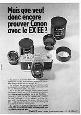 PUBLICITE  1969   CANON  EX EE  appareil photo