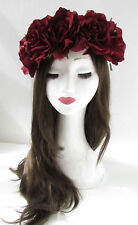 Large Burgundy Red Rose Flower Festival Headband Garland Big Vtg Hair Crown Z20