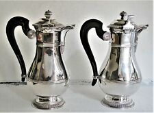 FINE TRUE PAIR 1 & 2 FRENCH STERLING SILVER ART-DECO COFFEE POTS CARDEILHAC 1925