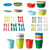 Ikea KALAS Childrens Plastic Cutlery Set Plates Bowl Mugs Cups Baby Kids Party