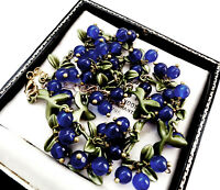 BEAUTIFUL ART DECO STYLE ENAMEL LAPIS BLUE GLASS BEAD BERRIES NECKLACE