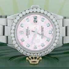 Rolex Oyster Perpetual Date 34mm Oyster w/Pink Floral Diamond Dial, 2.7Ct Bezel