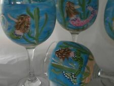 HAND PAINTED SWIMMING MERMAIDS 19 OUNCE GOBLETS/ SET/4(MADE IN THE USA)