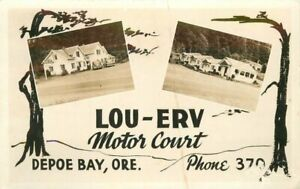 Depoe Bay Oregon Lou Erv Motor Court 1948 RPPC Photo Postcard 21-6826