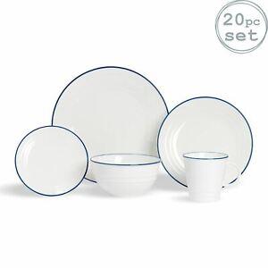 Farmhouse White Dinnerware Set Dinner Plates Dessert Side Bowls Cups - 20pc