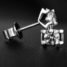 Jewelry Fashion Women Men Crystal Silver Plated Zircon Ear Studs Earrings