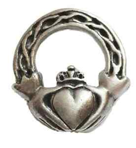 Claddagh Irish Handcrafted From English Pewter Lapel Pin Badge