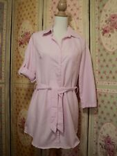 kitty kat pink chambray pinstripe long shirt tunic dress  tie belt  as bought