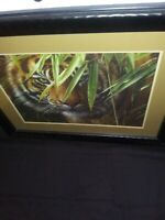 HOMCO HOME INTERIORS PICTURE TIGER LAYING IN GRASS 35 1/2 × 29 1×2 Black Frame