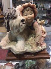 Giuseppe Armani Girl Capodimonte Italian shaggy dog figurine Florence Italy