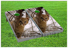 Vinyl Wraps Cornhole Beanbag Board Decals Puma in Deep Snow Forest Set 895