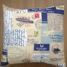 """New Postage Stamps Script Writing Duck Egg & Navy Blue Scatter cushion Cover 16"""""""