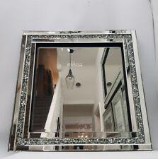 Carré Miroir Mural Scintillant Argent Ecrasement de Diamant Cristal 60x60cm