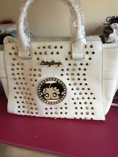 "Lovely White ""Betty Boop "" Studded Tote Bag, With Long Strap, Nwts"