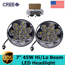 """2X 7""""In 45W LED Driving Work HeadLight Offroad Cars UTE Boat HI/LO Replace HID"""