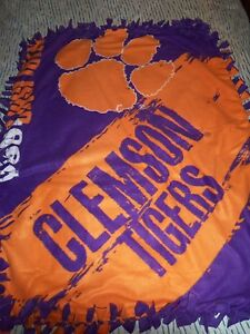 CLEMSON UNIVERSITY TIGERS FOOTBALL HAND TIED DOUBLE SIDE FLEECE RAG BLANKET~NEW