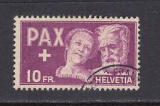 Switzerland ~ 1945 PAX - 10 Fr.  Sc# 305  Used,  cv $100  (au057)