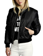 US Fashion Women Bomber Jacket Zip Up Biker Stylish Vintage Jacket Baseball Coat